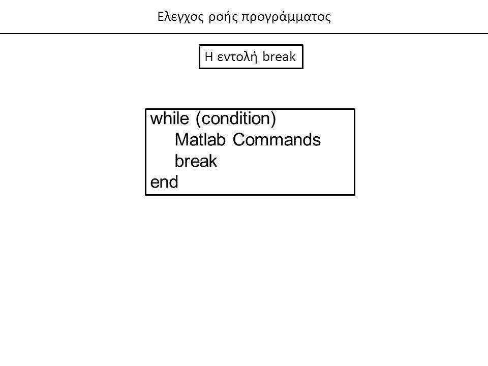 Ελεγχος ροής προγράμματος Η εντολή break while (condition) Matlab Commands break end