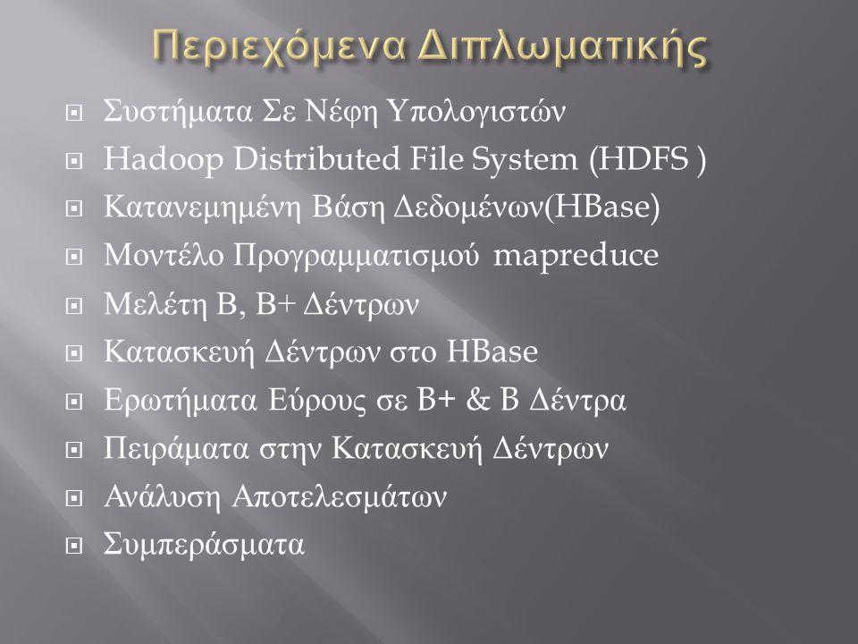  Συστήματα Σε Νέφη Υπολογιστών  Hadoop Distributed File System (HDFS )  Κατανεμημένη Βάση Δεδομένων (HBase)  Μοντέλο Προγραμματισμού mapreduce  Μ