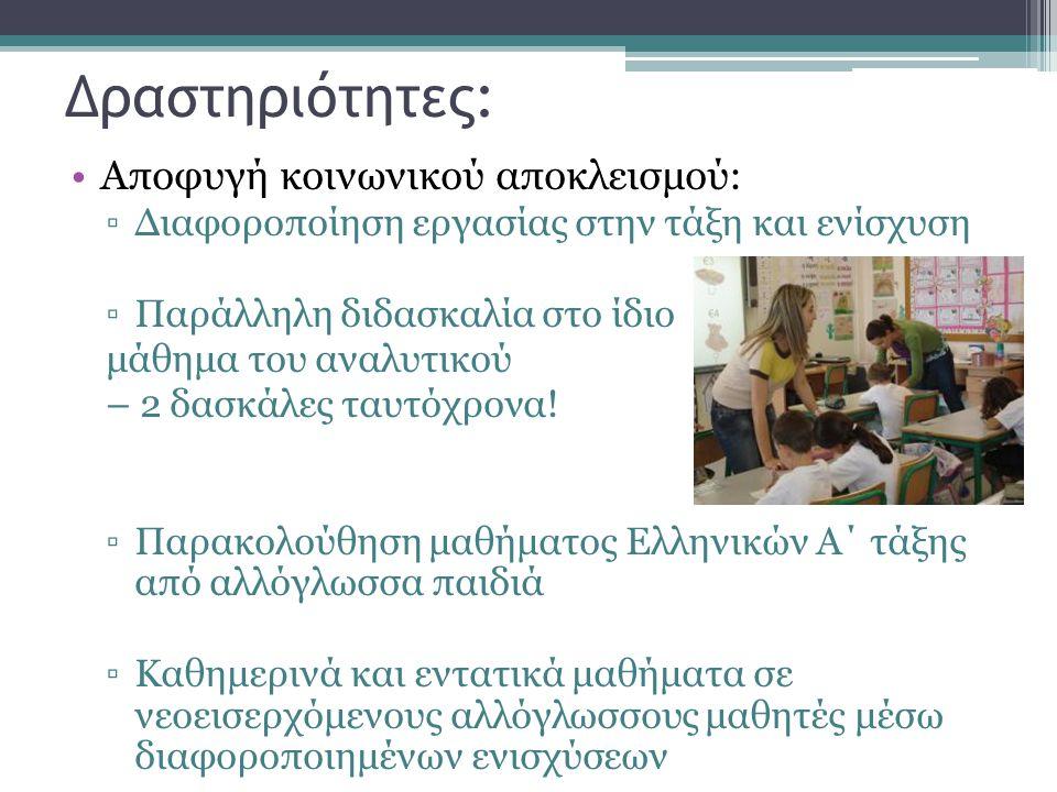 Δραστηριότητες: •Αποφυγή κοινωνικού αποκλεισμού: ▫Διαφοροποίηση εργασίας στην τάξη και ενίσχυση ▫Παράλληλη διδασκαλία στο ίδιο μάθημα του αναλυτικού –