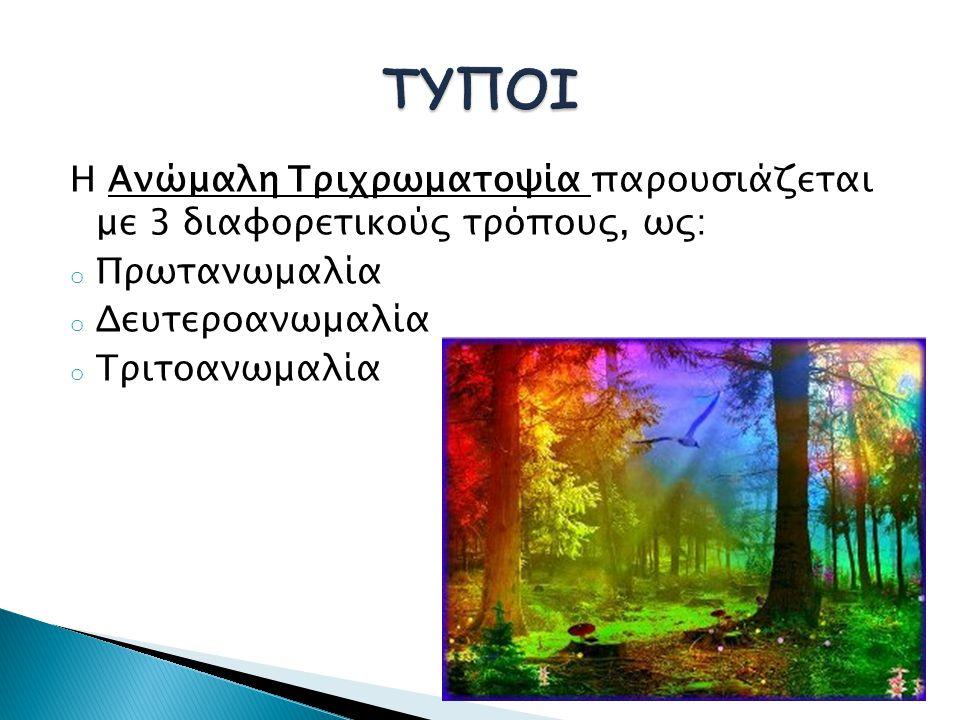 Η Ανώμαλη Τριχρωματοψία παρουσιάζεται με 3 διαφορετικούς τρόπους, ως: o Πρωτανωμαλία o Δευτεροανωμαλία o Τριτοανωμαλία