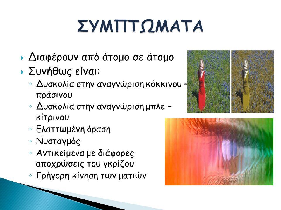  Διαφέρουν από άτομο σε άτομο  Συνήθως είναι: ◦ Δυσκολία στην αναγνώριση κόκκινου – πράσινου ◦ Δυσκολία στην αναγνώριση μπλε – κίτρινου ◦ Ελαττωμένη όραση ◦ Νυσταγμός ◦ Αντικείμενα με διάφορες αποχρώσεις του γκρίζου ◦ Γρήγορη κίνηση των ματιών