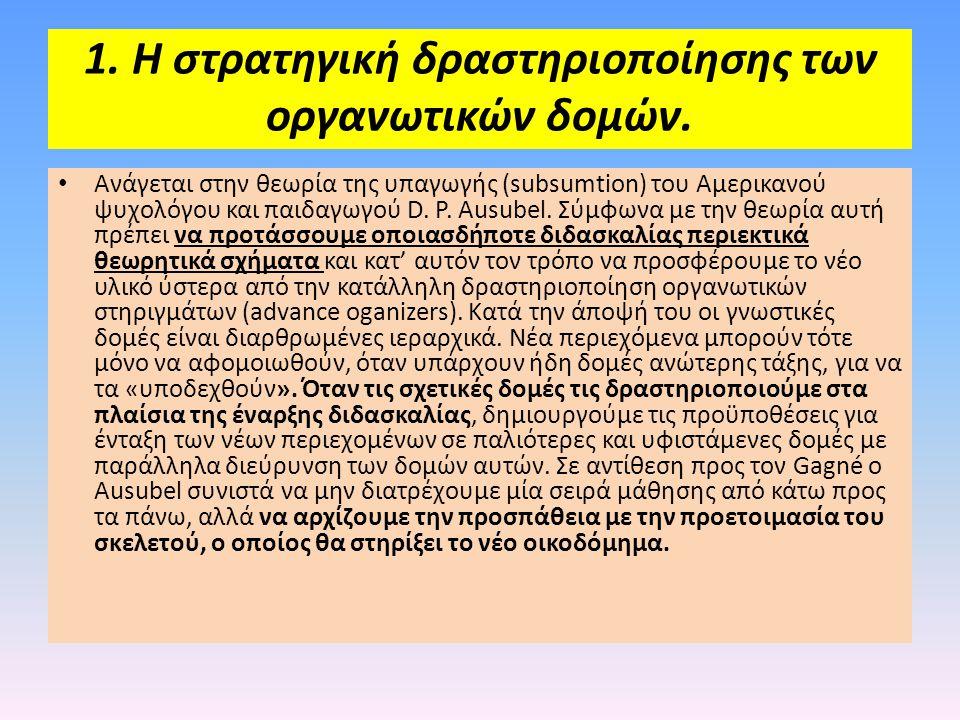 1. Η στρατηγική δραστηριοποίησης των οργανωτικών δομών. • Ανάγεται στην θεωρία της υπαγωγής (subsumtion) του Αμερικανού ψυχολόγου και παιδαγωγού D. P.