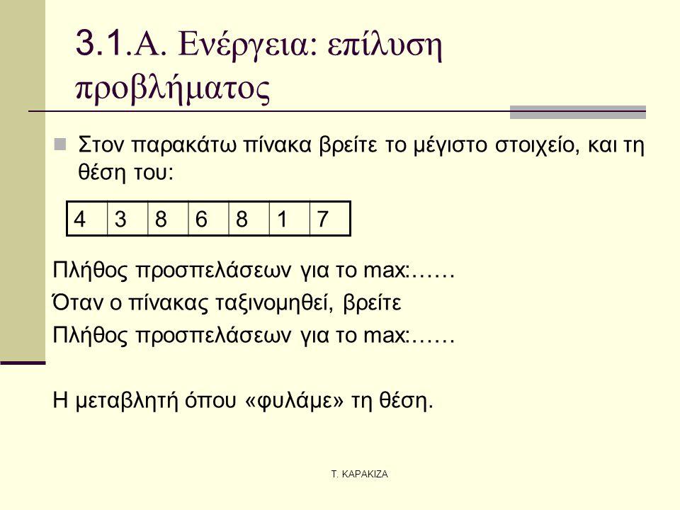 Τ. ΚΑΡΑΚΙΖΑ 3.1.Α. Ενέργεια: επίλυση προβλήματος  Στον παρακάτω πίνακα βρείτε το μέγιστο στοιχείο, και τη θέση του: Πλήθος προσπελάσεων για το max:……