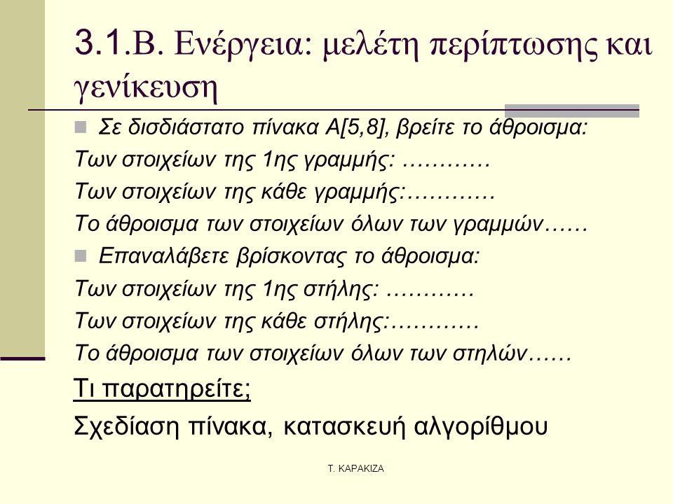 Τ. ΚΑΡΑΚΙΖΑ 3.1.Β. Ενέργεια: μελέτη περίπτωσης και γενίκευση  Σε δισδιάστατο πίνακα Α[5,8], βρείτε το άθροισμα: Των στοιχείων της 1ης γραμμής: ………… Τ
