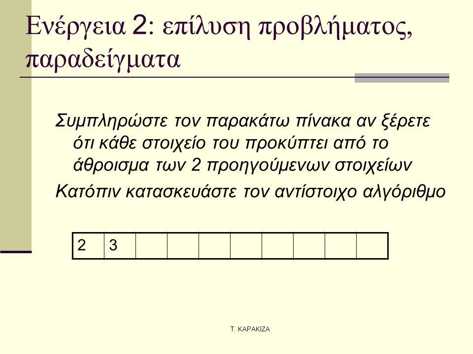 Τ. ΚΑΡΑΚΙΖΑ Ενέργεια 2 : επίλυση προβλήματος, παραδείγματα Συμπληρώστε τον παρακάτω πίνακα αν ξέρετε ότι κάθε στοιχείο του προκύπτει από το άθροισμα τ