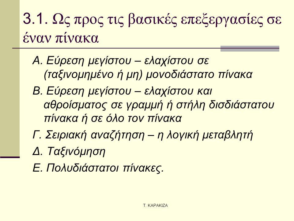 Τ. ΚΑΡΑΚΙΖΑ 3.1. Ως προς τις βασικές επεξεργασίες σε έναν πίνακα Α. Εύρεση μεγίστου – ελαχίστου σε (ταξινομημένο ή μη) μονοδιάστατο πίνακα Β. Εύρεση μ