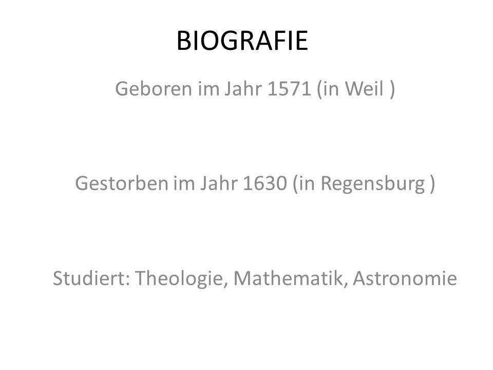Büchern geschriebt Mysterium Cosmographicum («Κοσμογραφικό μυστήριο») (1596) De Fundamentis Astrologiae Certioribus («Περί των περισσότερο ασφαλών θεμελίων της Αστρολογίας») (1601) Astronomiae Pars Optica («Το οπτικό μέρος της Αστρονομίας») (1604) De Stella nova in pede Serpentarii («Περί του Νέου Αστέρος στον Πόδα του Οφιούχου») (1604) Astronomia nova («Νέα Αστρονομία») (1609) Dissertatio cum Nuncio Sidereo Nuper ad Mortales Misso a Galileo Galilei («Συνομιλίες με τον Αστρικό Αγγελιαφόρο») (1610) Dioptrice («Διόπτρα») (1611) Nova stereometria doliorum vinariorum («Νέα Στερεομετρία των βαρελιών του οίνου») (1615) Epitome astronomiae Copernicanae («Επιτομή της Κοπερνίκειας Αστρονομίας», εκδόθηκε σε τρία μέρη, από το 1618ως το 1621) Harmonice Mundi («Η αρμονία των Κόσμων») (1619) Tabulae Rudolphinae («Ροδόλφειοι πίνακες») (1627) Somnium («Το όνειρο») (1634)* — θεωρείται το πρώτο έργο επιστημονικής φαντασίας των νεότερων χρόνων