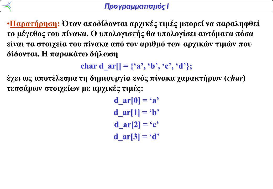 Προγραμματισμός Ι 0 1 0 1 1 •To γεγονός ότι η δείκτες των στοιχείων ενός πίνακα ξεκινούν από το 0 κι όχι από το 1 μπορεί αρχικά να προκαλέσει σύγχυση αλλά αντανακλά τη φιλοσοφία της C, η οποία επιδιώκει να παραμείνει ο προγραμματισμός κοντά στην αρχιτεκτονική του υπολογιστή.