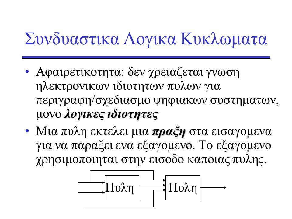 Βοοlean Algrebra •Mαθηματικη Θεωρια Λογικης (1850s) •Χρησιμοποιηται για –περιγραφη δυαδικων λογικων κυκλωματων με μαθηματικες εκφρασεις –επεξεργασια εκφρασεων –αναλυση και σχεδιασμο