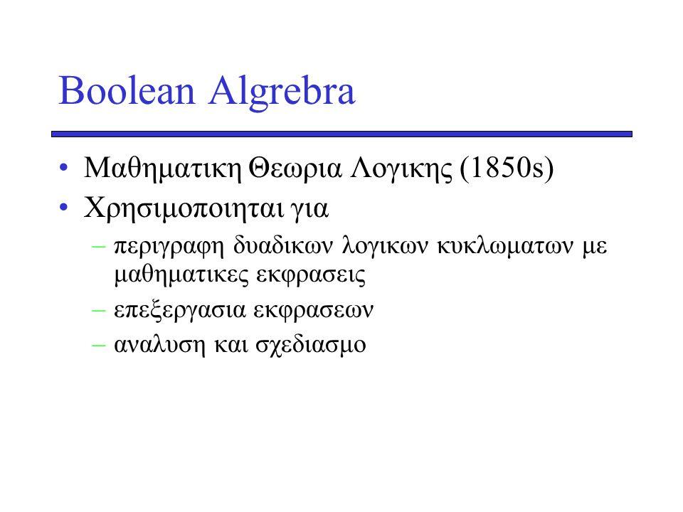 Βοοlean Algrebra •Mαθηματικη Θεωρια Λογικης (1850s) •Χρησιμοποιηται για –περιγραφη δυαδικων λογικων κυκλωματων με μαθηματικες εκφρασεις –επεξεργασια ε