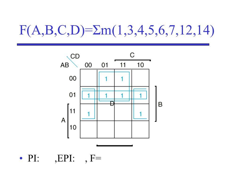 F(A,B,C,D)=Σm(1,3,4,5,6,7,12,14) •PI:,EPI:, F=