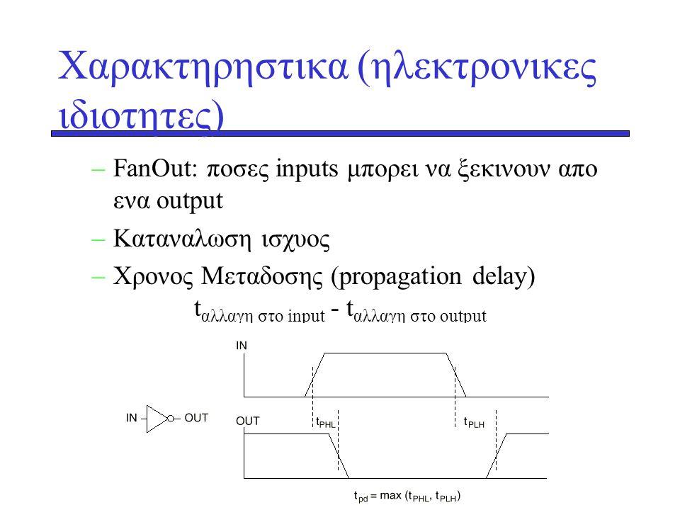 Xαρακτηρηστικα (ηλεκτρονικες ιδιοτητες) –FanΟut: ποσες inputs μπορει να ξεκινουν απο ενα output –Kαταναλωση ισχυος –Χρονος Μεταδοσης (propagation dela