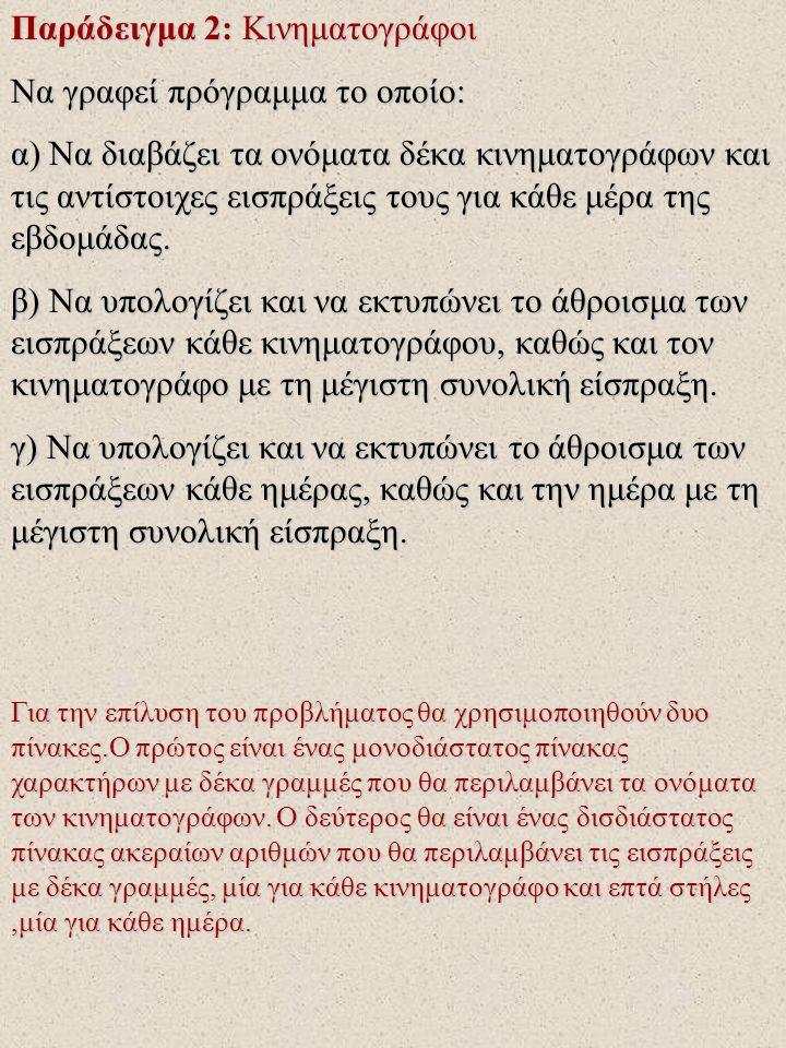 Παράδειγμα 2: Κινηματογράφοι Να γραφεί πρόγραμμα το οποίο: α) Να διαβάζει τα ονόματα δέκα κινηματογράφων και τις αντίστοιχες εισπράξεις τους για κάθε