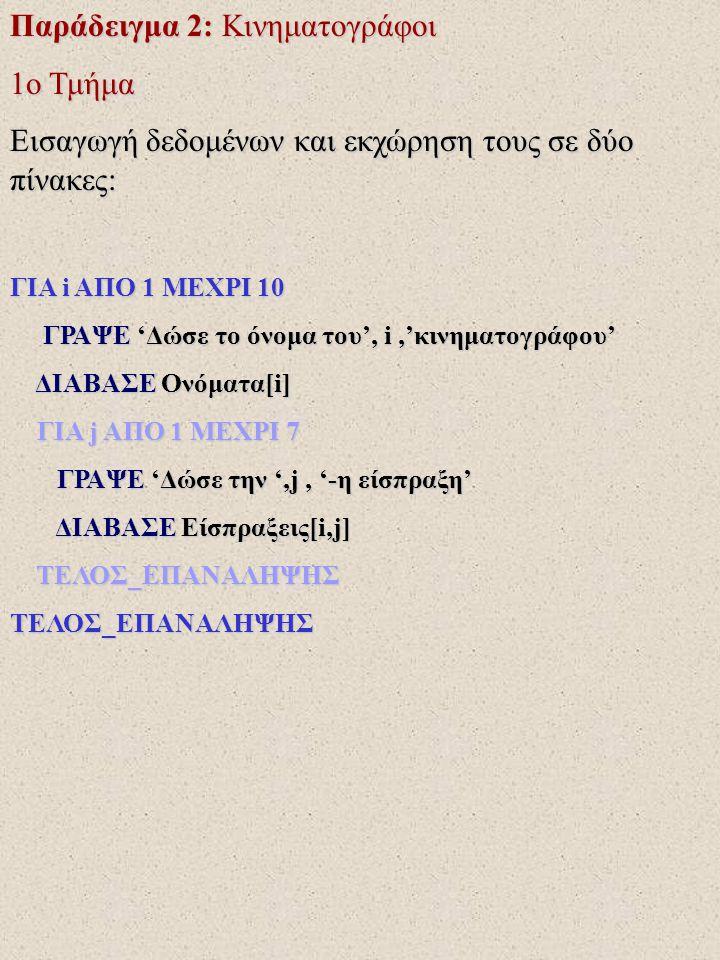 Παράδειγμα 2: Κινηματογράφοι 1ο Τμήμα Εισαγωγή δεδομένων και εκχώρηση τους σε δύο πίνακες: ΓΙΑ i ΑΠΟ 1 ΜΕΧΡΙ 10 ΓΡΑΨΕ 'Δώσε το όνομα του', i,'κινηματο