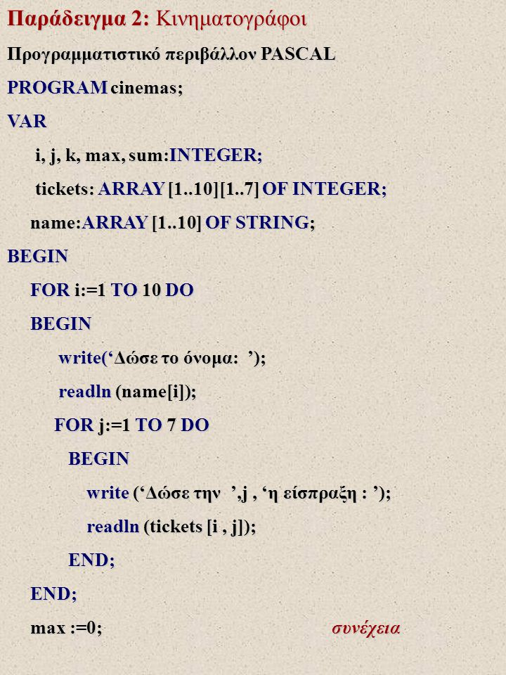 Παράδειγμα 2: Κινηματογράφοι FOR i:=1 TO 10 DO FOR i:=1 TO 10 DO BEGIN BEGIN sum :=0; sum :=0; FOR j :=1 TO 7 DO FOR j :=1 TO 7 DO sum :=sum + tickets[i,j]; sum :=sum + tickets[i,j]; writeln ('Σύνολο ', name[i], ' = ', sum); writeln ('Σύνολο ', name[i], ' = ', sum); IF max<sum THEN IF max<sum THEN BEGIN BEGIN max:=sum; max:=sum; k:=i; k:=i; END; END; writeln ('Μέγιστο ', max, 'στον ', name[k]); writeln ('Μέγιστο ', max, 'στον ', name[k]); max:= 0; max:= 0; FOR j:=1 TO 7 DO FOR j:=1 TO 7 DO BEGIN BEGIN sum:=0; sum:=0; συνέχεια συνέχεια