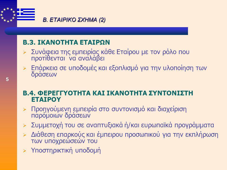 5 Β. ΕΤΑΙΡΙΚΟ ΣΧΗΜΑ (2) Β.3. ΙΚΑΝΟΤΗΤΑ ΕΤΑΙΡΩΝ  Συνάφεια της εμπειρίας κάθε Εταίρου με τον ρόλο που προτίθενται να αναλάβει  Επάρκεια σε υποδομές κα