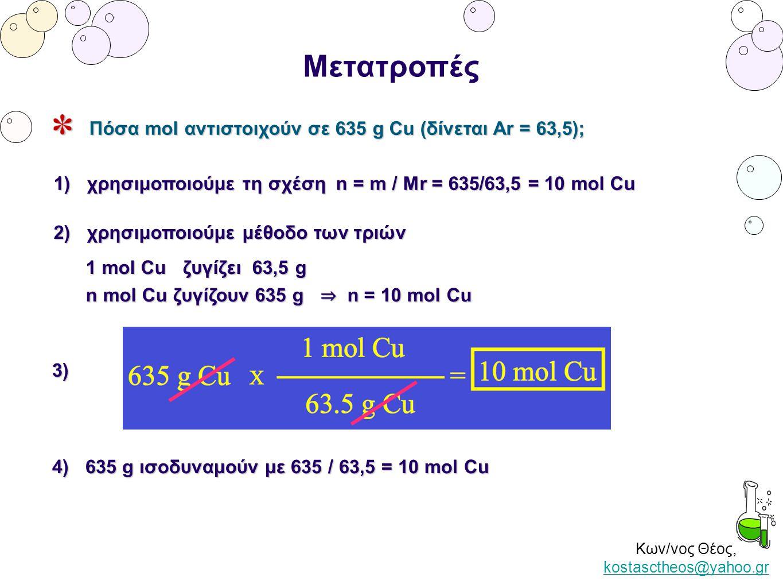 Κων/νος Θέος, kostasctheos@yahoo.gr kostasctheos@yahoo.gr Μετατροπές Πόσα mol αντιστοιχούν σε 635 g Cu (δίνεται Ar = 63,5); 1) χρησιμοποιούμε τη σχέση