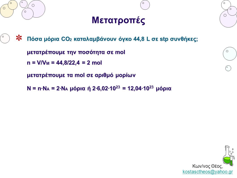 Κων/νος Θέος, kostasctheos@yahoo.gr kostasctheos@yahoo.gr Μετατροπές Πόσα μόρια CO 2 καταλαμβάνουν όγκο 44,8 L σε stp συνθήκες; μετατρέπουμε την ποσότ