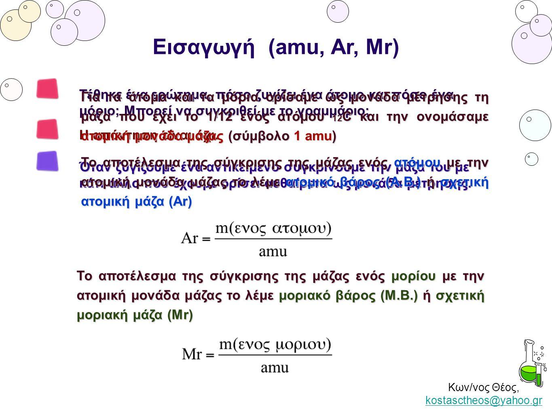 Κων/νος Θέος, kostasctheos@yahoo.gr kostasctheos@yahoo.gr Εισαγωγή (amu, Ar, Mr) Τέθηκε ένα ερώτημα, πόσο ζυγίζει ένα άτομο και πόσο ένα μόριο; Μπορεί