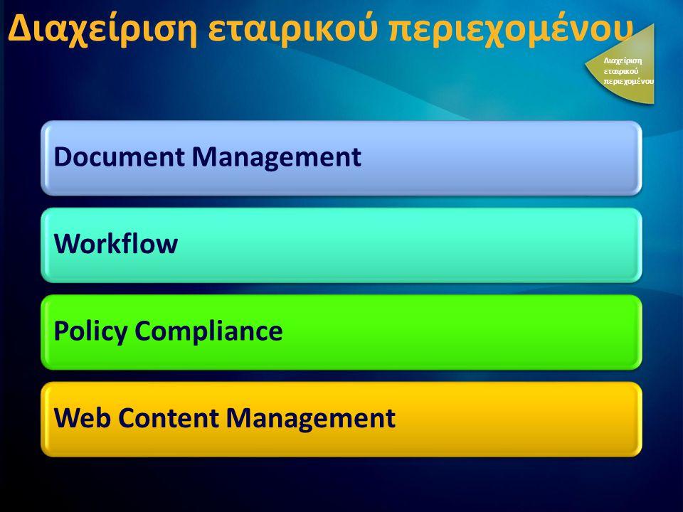 Διαχείριση εταιρικού περιεχομένου Document ManagementWorkflowPolicy ComplianceWeb Content Management Διαχείριση εταιρικού περιεχομένου