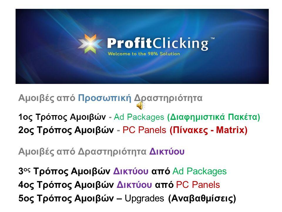 Αμοιβές από Προσωπική Δραστηριότητα 1ος Τρόπος Αμοιβών - Ad Packages (Διαφημιστικά Πακέτα) 2ος Τρόπος Αμοιβών - PC Panels (Πίνακες - Matrix) Αμοιβές από Δραστηριότητα Δικτύου 3 ος Τρόπος Αμοιβών Δικτύου από Ad Packages 4ος Τρόπος Αμοιβών Δικτύου από PC Panels 5ος Τρόπος Αμοιβών – Upgrades (Αναβαθμίσεις)