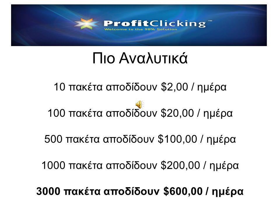 Παράδειγμα Β: $1.000,00 είναι επένδυση 100 πακέτων $1000 x 2% = $ 20,00 / καθημερινή $1000 x 1% = $ 10,00 / Σαβ./Κυρ. Δηλαδή: Τα $1.000,00 γίνονται $1