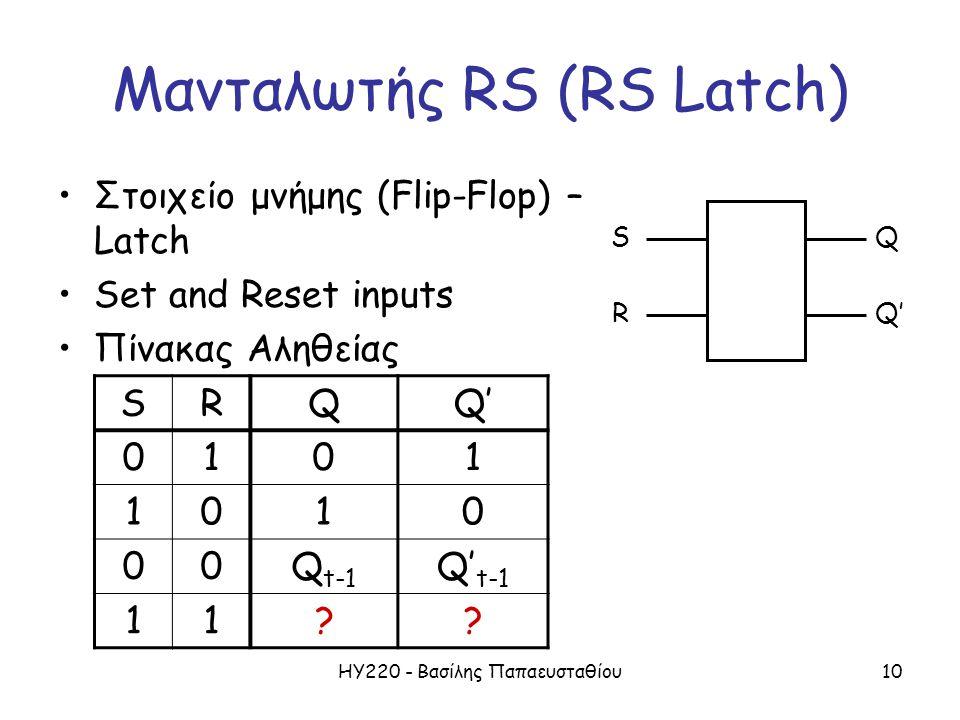 ΗΥ220 - Βασίλης Παπαευσταθίου10 Μανταλωτής RS (RS Latch) •Στοιχείο μνήμης (Flip-Flop) – Latch •Set and Reset inputs •Πίνακας Αληθείας S R Q Q' SRQ 010