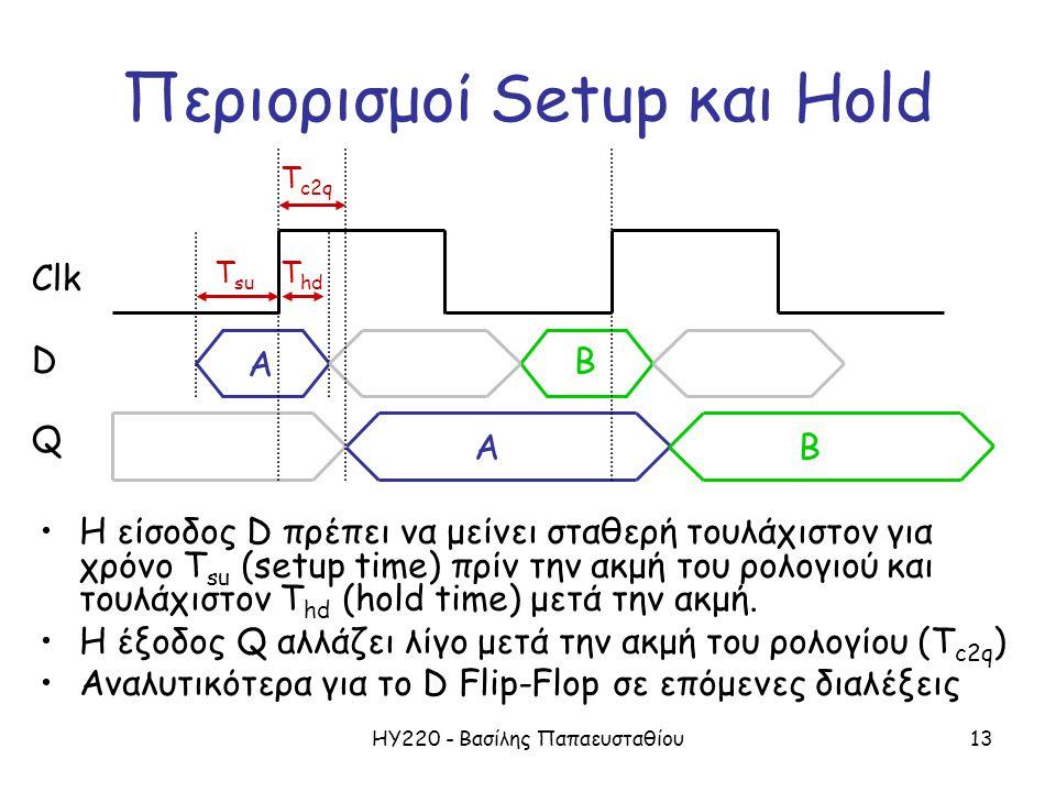 ΗΥ220 - Βασίλης Παπαευσταθίου13 Περιορισμοί Setup και Hold •Η είσοδος D πρέπει να μείνει σταθερή τουλάχιστον για χρόνο T su (setup time) πρίν την ακμή