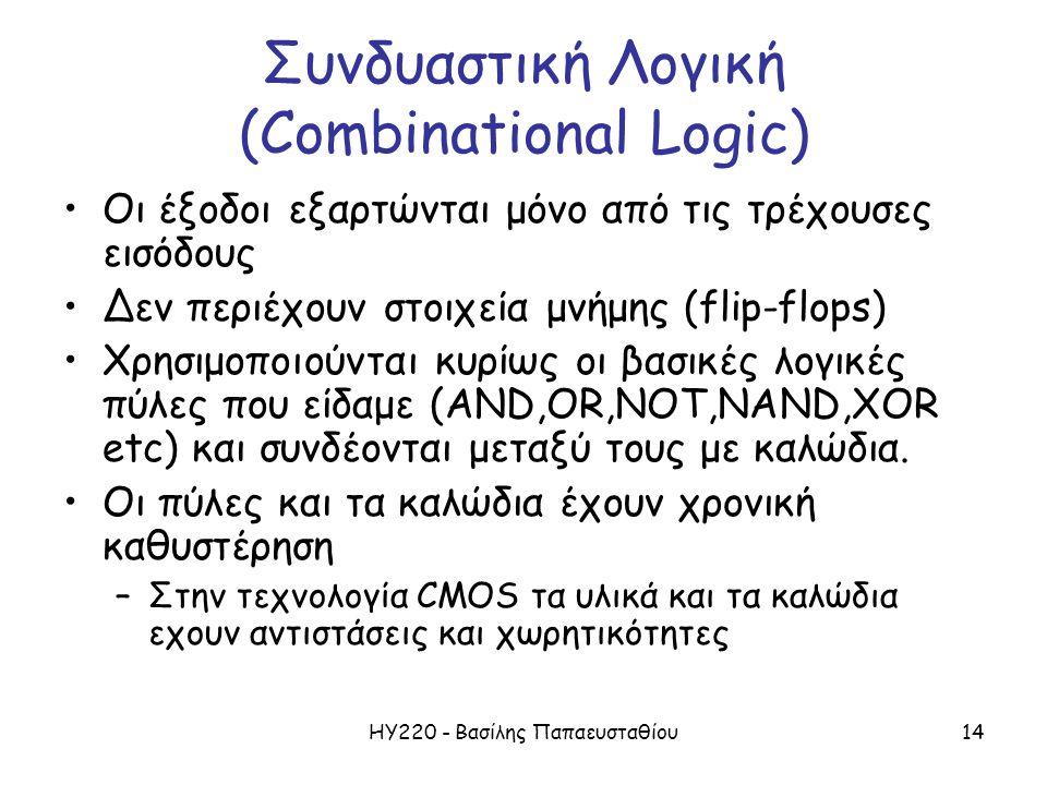 ΗΥ220 - Βασίλης Παπαευσταθίου14 Συνδυαστική Λογική (Combinational Logic) •Οι έξοδοι εξαρτώνται μόνο από τις τρέχουσες εισόδους •Δεν περιέχoυν στοιχεία