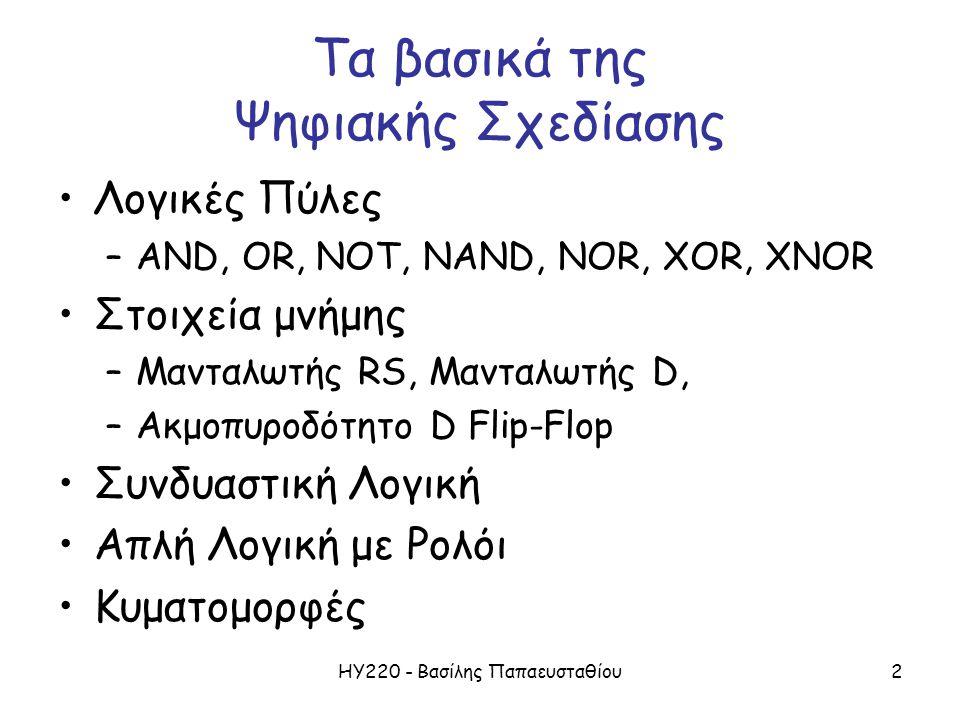ΗΥ220 - Βασίλης Παπαευσταθίου2 Τα βασικά της Ψηφιακής Σχεδίασης •Λογικές Πύλες –AND, OR, NOT, NAND, NOR, XOR, XNOR •Στοιχεία μνήμης –Μανταλωτής RS, Μα