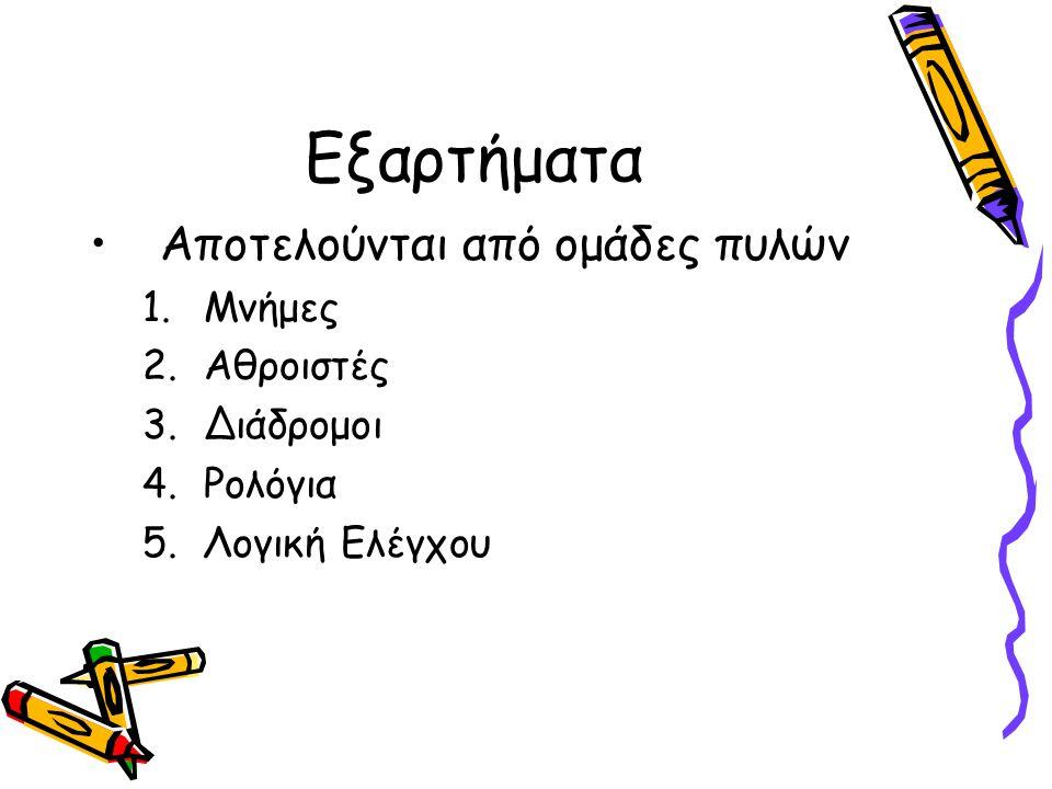 Εξαρτήματα •Αποτελούνται από ομάδες πυλών 1.Μνήμες 2.Αθροιστές 3.Διάδρομοι 4.Ρολόγια 5.Λογική Ελέγχου