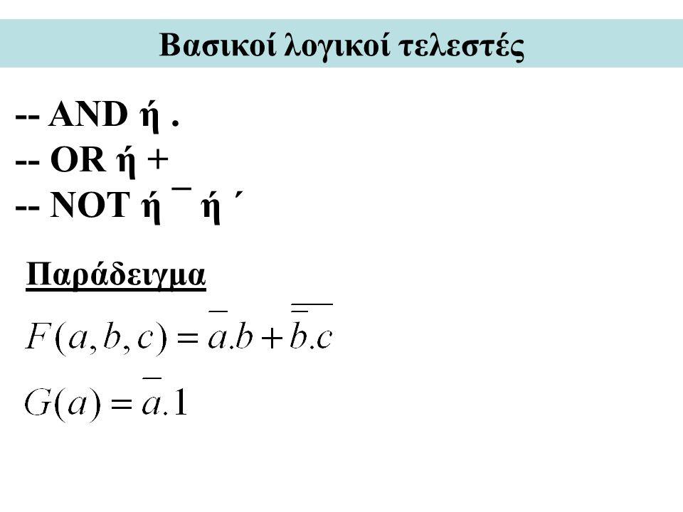Βασικοί λογικοί τελεστές -- AND ή. -- OR ή + -- NOT ή ¯ ή ´ Παράδειγμα
