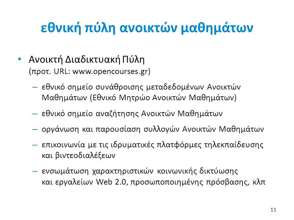 εθνική πύλη ανοικτών μαθημάτων • Ανοικτή Διαδικτυακή Πύλη (προτ. URL: www.opencourses.gr) – εθνικό σημείο συνάθροισης μεταδεδομένων Ανοικτών Μαθημάτων