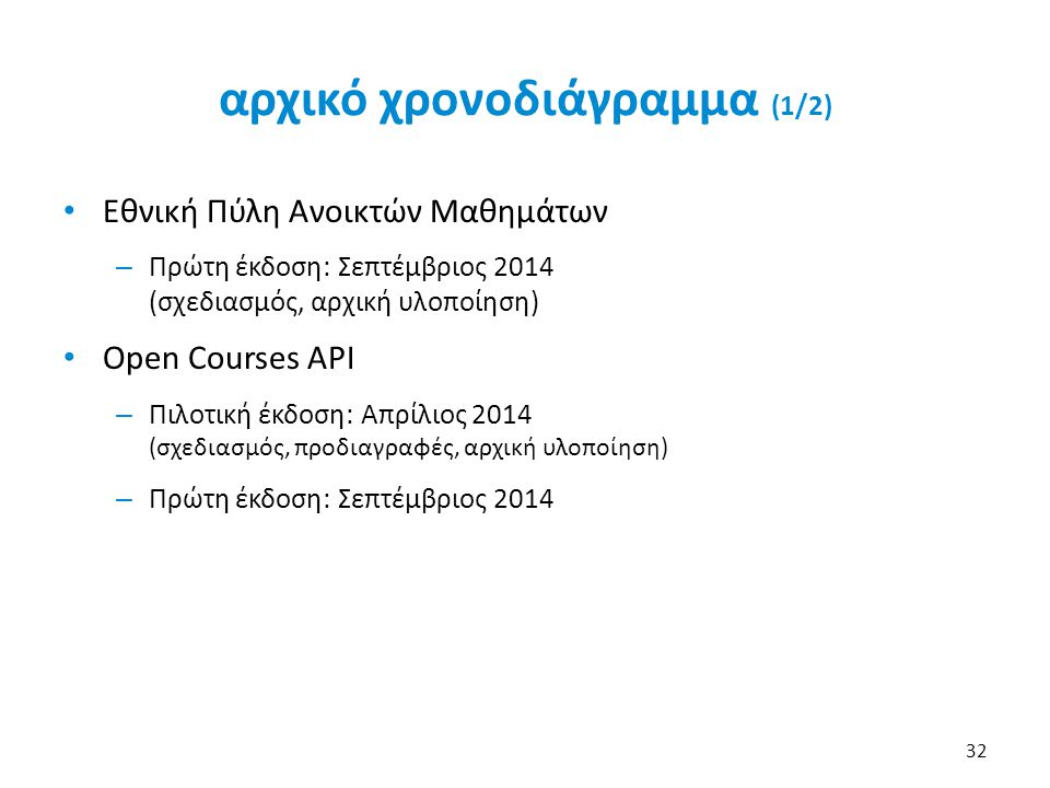 αρχικό χρονοδιάγραμμα (1/2) • Εθνική Πύλη Ανοικτών Μαθημάτων – Πρώτη έκδοση: Σεπτέμβριος 2014 (σχεδιασμός, αρχική υλοποίηση) • Open Courses API – Πιλο
