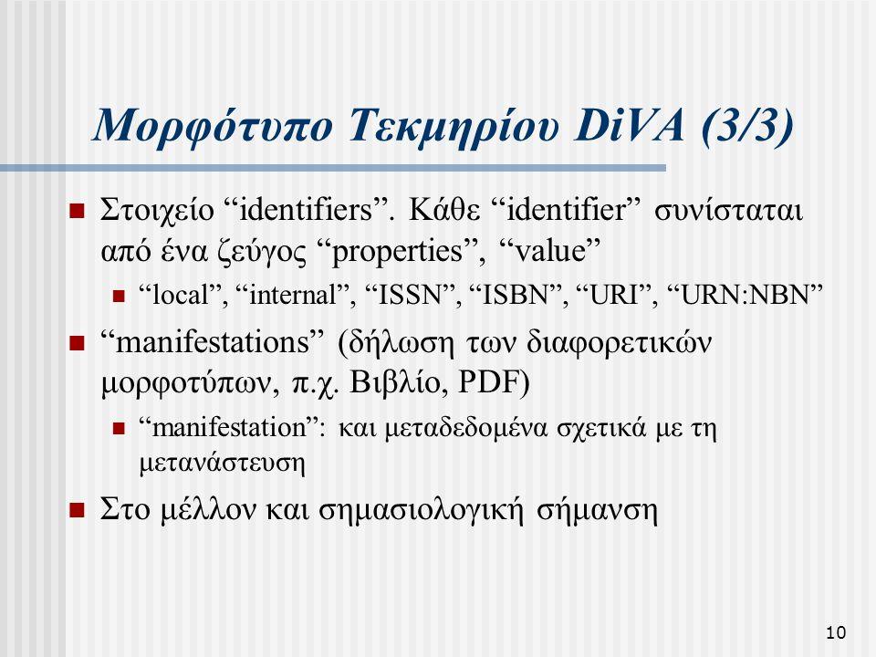 """10 Μορφότυπο Τεκμηρίου DiVA (3/3)  Στοιχείο """"identifiers"""". Κάθε """"identifier"""" συνίσταται από ένα ζεύγος """"properties"""", """"value""""  """"local"""", """"internal"""", """""""