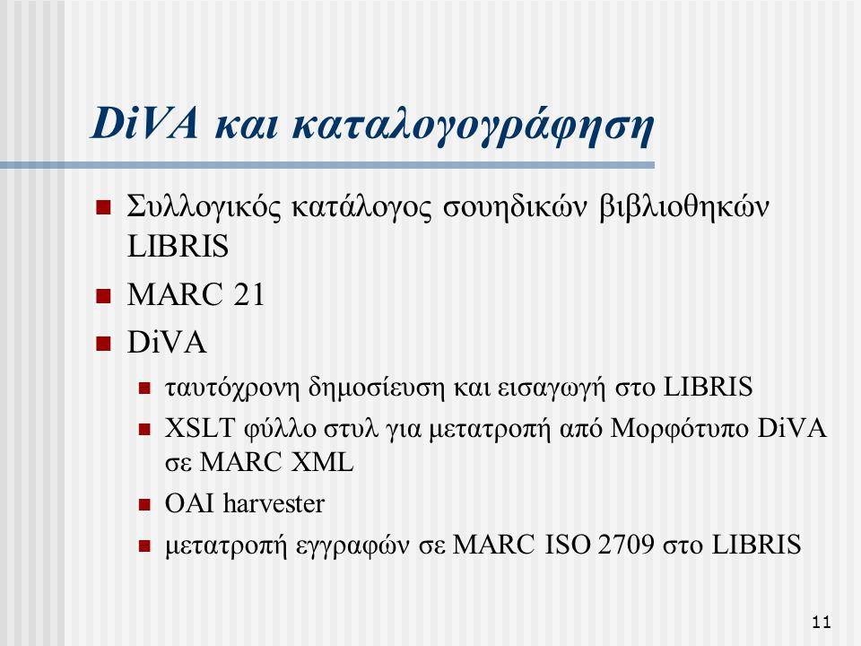 11 DiVA και καταλογογράφηση  Συλλογικός κατάλογος σουηδικών βιβλιοθηκών LIBRIS  MARC 21  DiVA  ταυτόχρονη δημοσίευση και εισαγωγή στο LIBRIS  XSL