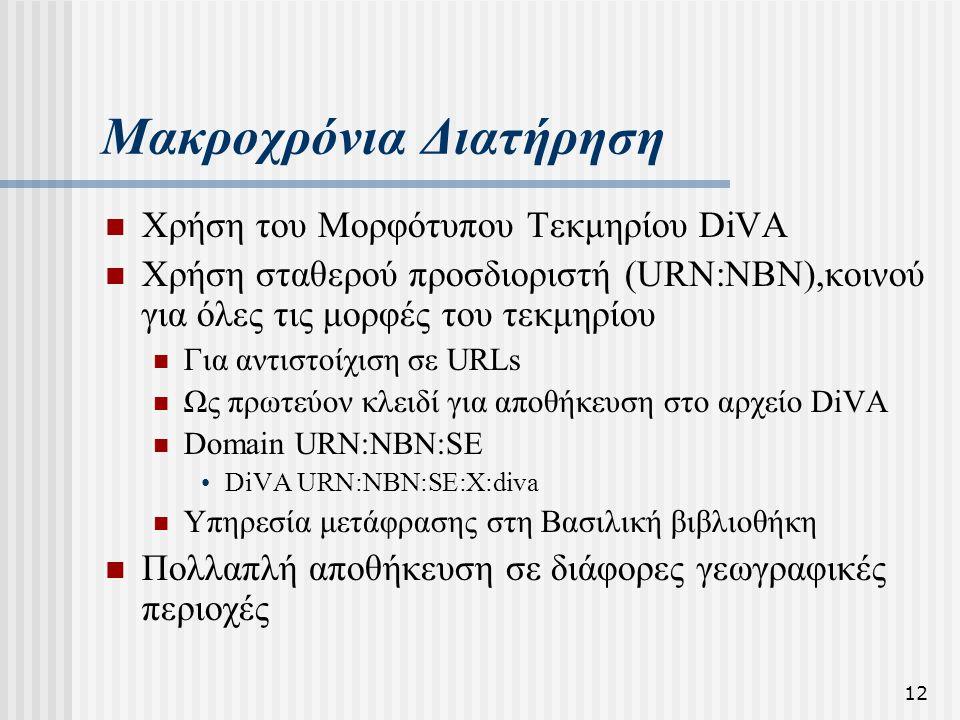 12 Μακροχρόνια Διατήρηση  Χρήση του Μορφότυπου Τεκμηρίου DiVA  Χρήση σταθερού προσδιοριστή (URN:NBN),κοινού για όλες τις μορφές του τεκμηρίου  Για