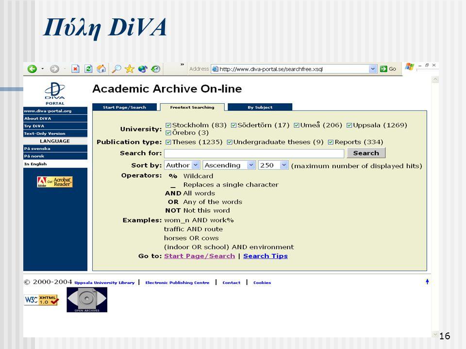 16 Πύλη DiVA