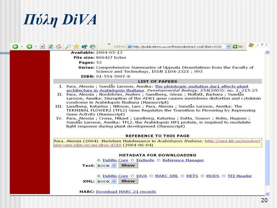 20 Πύλη DiVA