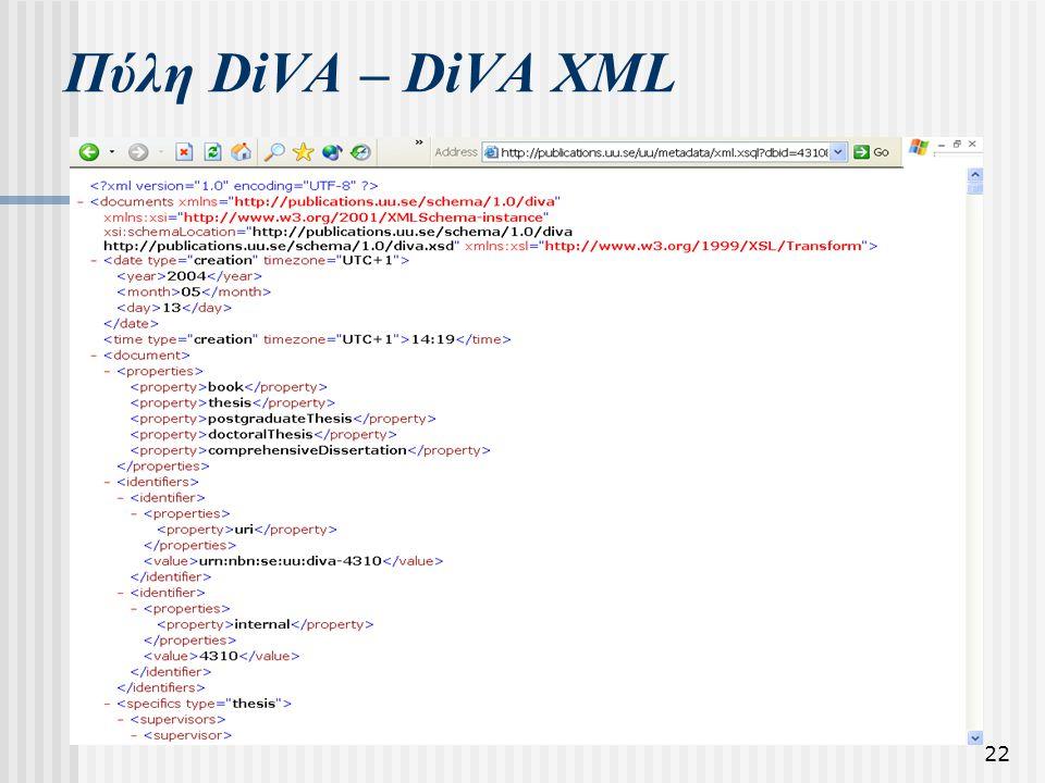 22 Πύλη DiVA – DiVA XML