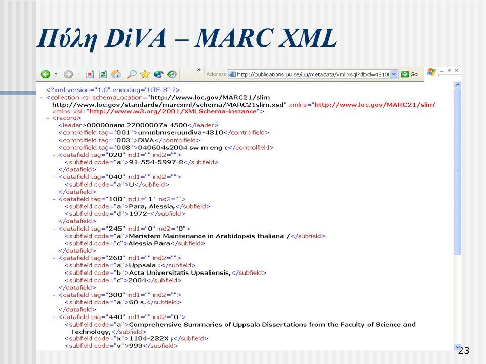 23 Πύλη DiVA – MARC XML