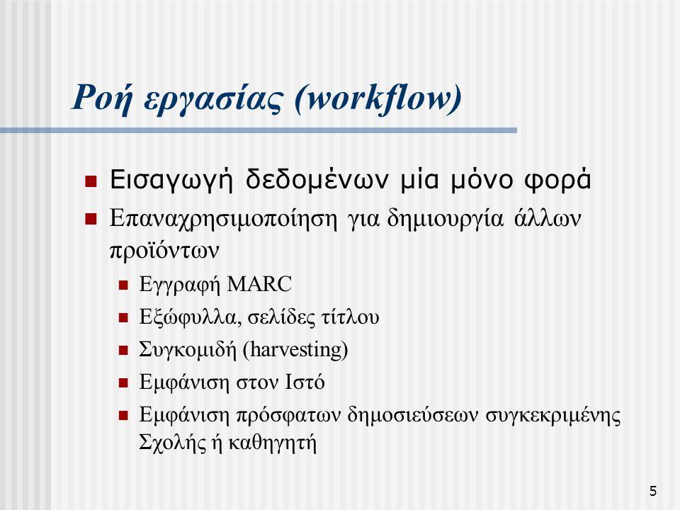 5 Ροή εργασίας (workflow)  Εισαγωγή δεδομένων μία μόνο φορά  Επαναχρησιμοποίηση για δημιουργία άλλων προϊόντων  Εγγραφή MARC  Εξώφυλλα, σελίδες τί