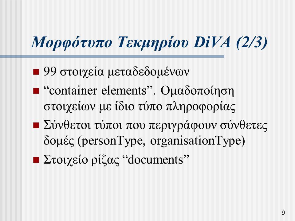 """9 Μορφότυπο Τεκμηρίου DiVA (2/3)  99 στοιχεία μεταδεδομένων  """"container elements"""". Ομαδοποίηση στοιχείων με ίδιο τύπο πληροφορίας  Σύνθετοι τύποι π"""