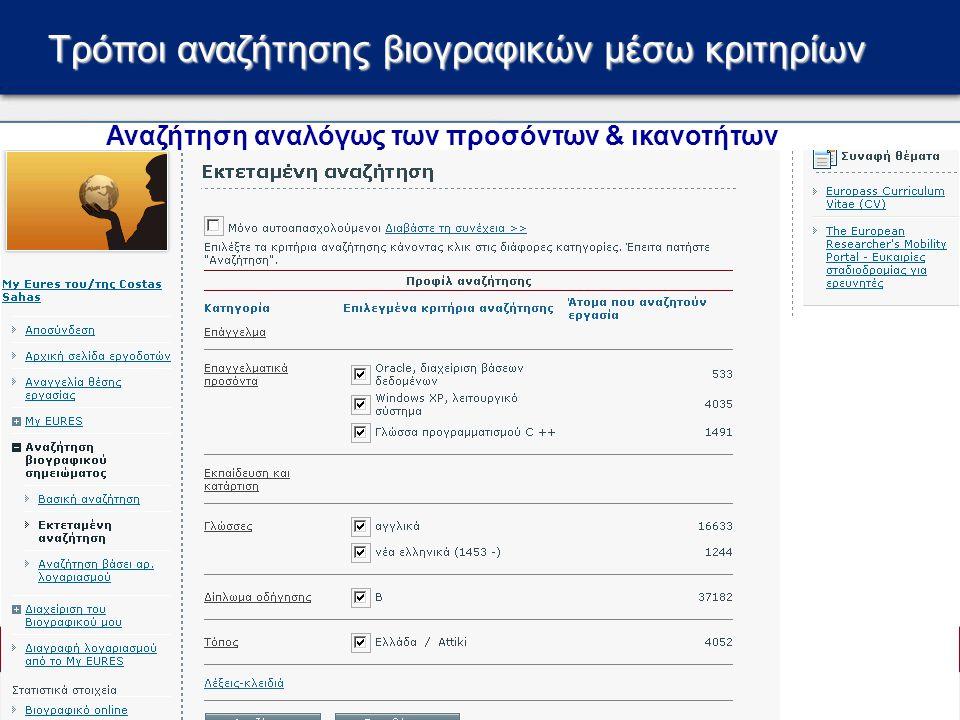 Τρόποι αναζήτησης βιογραφικών μέσω κριτηρίων Αναζήτηση αναλόγως των προσόντων & ικανοτήτων