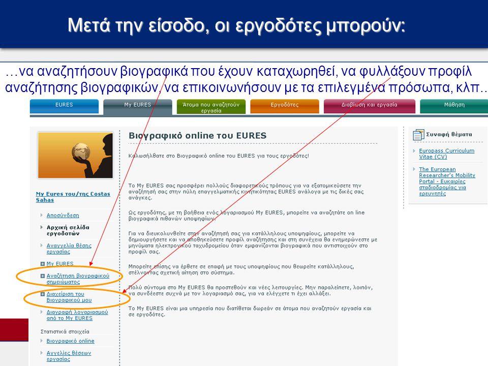 Μετά την είσοδο, οι αναζητούντες εργασία μπορούν: …να δημιουργήσουν βιογραφικό σε διάφορες γλώσσες και να τα αποθηκεύσουν σε μορφή.doc,.pdf, EuropassCV, να φυλάξουν πολλαπλά προφίλ αναζήτησης εργασίας, να απαντήσουν σε εργοδότες, κλπ…