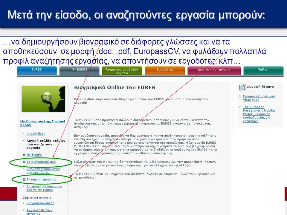 Μετά την είσοδο, οι αναζητούντες εργασία μπορούν: …να δημιουργήσουν βιογραφικό σε διάφορες γλώσσες και να τα αποθηκεύσουν σε μορφή.doc,.pdf, EuropassC