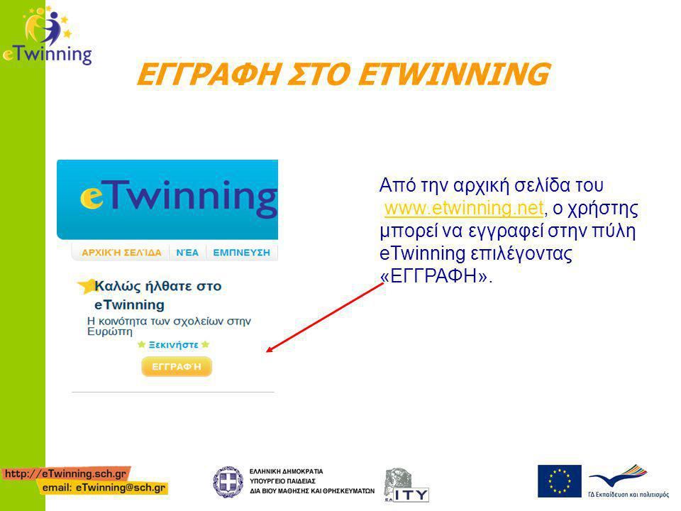 ΕΓΓΡΑΦΗ ΣΤΟ ETWINNING Από την αρχική σελίδα του www.etwinning.net, ο χρήστης μπορεί να εγγραφεί στην πύλη eTwinning επιλέγοντας «ΕΓΓΡΑΦΗ».www.etwinnin
