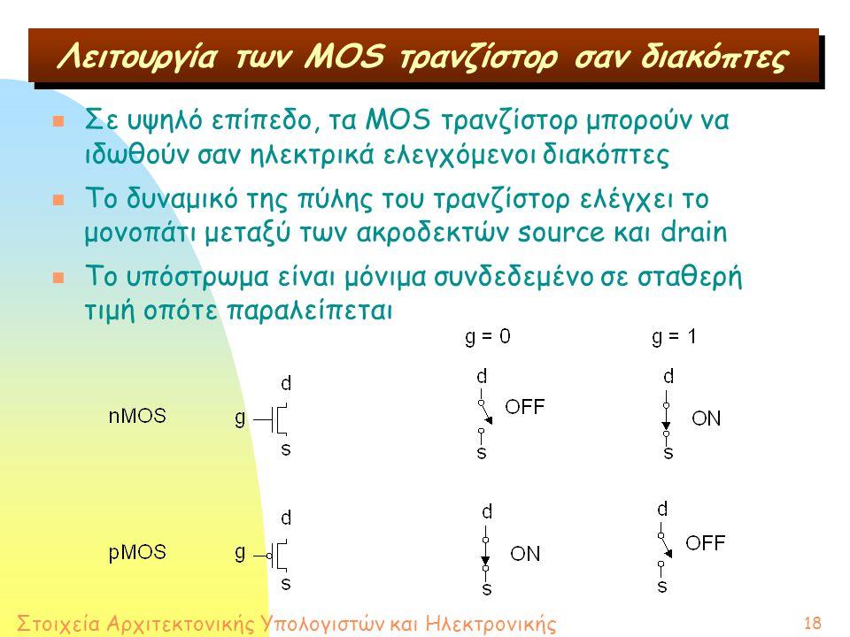Στοιχεία Αρχιτεκτονικής Υπολογιστών και Ηλεκτρονικής 18 Λειτουργία των MOS τρανζίστορ σαν διακόπτες n Σε υψηλό επίπεδο, τα MOS τρανζίστορ μπορούν να ιδωθούν σαν ηλεκτρικά ελεγχόμενοι διακόπτες n Το δυναμικό της πύλης του τρανζίστορ ελέγχει το μονοπάτι μεταξύ των ακροδεκτών source και drain n Το υπόστρωμα είναι μόνιμα συνδεδεμένο σε σταθερή τιμή οπότε παραλείπεται