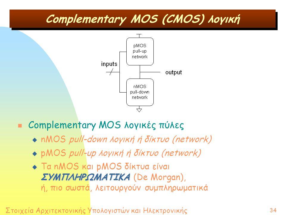 Στοιχεία Αρχιτεκτονικής Υπολογιστών και Ηλεκτρονικής 34 n Complementary MOS λογικές πύλες u nMOS pull-down λογική ή δίκτυο (network) u pMOS pull-up λογική ή δίκτυο (network) u Τα nMOS και pMOS δίκτυα είναι ΣΥΜΠΛΗΡΩΜΑΤΙΚΑ ΣΥΜΠΛΗΡΩΜΑΤΙΚΑ (De Morgan), ή, πιο σωστά, λειτουργούν συμπληρωματικά Complementary MOS (CMOS) λογική