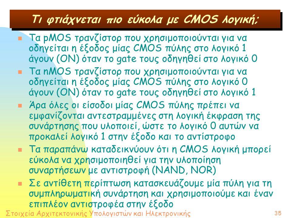 Στοιχεία Αρχιτεκτονικής Υπολογιστών και Ηλεκτρονικής 35 n Τα pMOS τρανζίστορ που χρησιμοποιούνται για να οδηγείται η έξοδος μίας CMOS πύλης στο λογικό 1 άγουν (ΟΝ) όταν το gate τους οδηγηθεί στο λογικό 0 n Τα nMOS τρανζίστορ που χρησιμοποιούνται για να οδηγείται η έξοδος μίας CMOS πύλης στο λογικό 0 άγουν (ΟΝ) όταν το gate τους οδηγηθεί στο λογικό 1 n Άρα όλες οι είσοδοι μίας CMOS πύλης πρέπει να εμφανίζονται αντεστραμμένες στη λογική έκφραση της συνάρτησης που υλοποιεί, ώστε το λογικό 0 αυτών να προκαλεί λογικό 1 στην έξοδο και το αντίστροφο n Τα παραπάνω καταδεικνύουν ότι η CMOS λογική μπορεί εύκολα να χρησιμοποιηθεί για την υλοποίηση συναρτήσεων με αντιστροφή (NAND, NOR) n Σε αντίθετη περίπτωση κατασκευάζουμε μία πύλη για τη συμπληρωματική συνάρτηση και χρησιμοποιούμε και έναν επιπλέον αντιστροφέα στην έξοδο Τι φτιάχνεται πιο εύκολα με CMOS λογική;